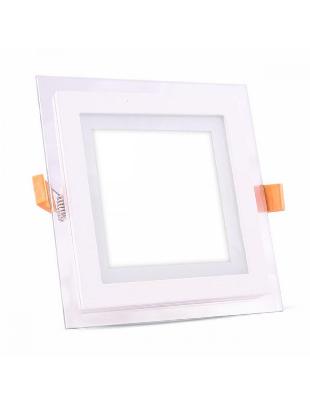 Faretti Da Incasso Legno pannello led quadrato in vetro da incasso 6w v-tac vt-602gsq